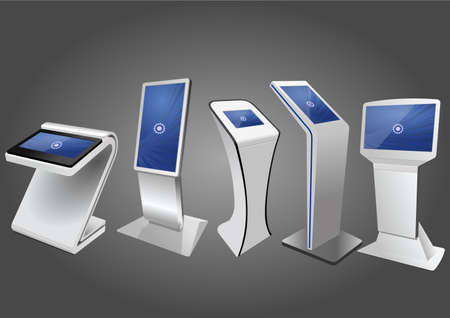 Five Promotional Interactive Information Kiosk, Advertising Display, Terminal Stand, Touch Screen Display. Mock Up Template. Illustration