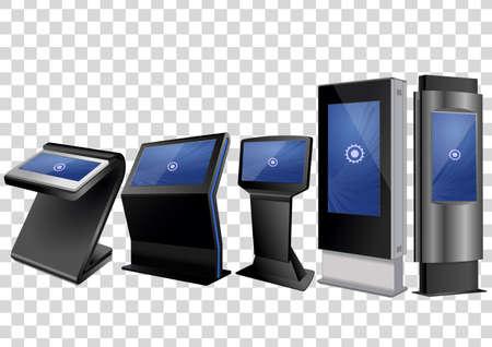 Cinq kiosque d'informations interactives promotionnelles, affichage publicitaire, support de terminal, écran tactile isolé sur fond transparent. Modèle de maquette.
