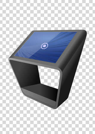 Promotional Interactive Information Kiosk, Advertising Display, Terminal Stand, Touch Screen Display isolated on transparent background. Mock Up Template.