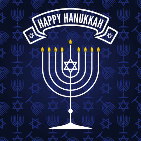 Happy Hanukkah poster or greeting card with menorah. Vector illustration. Illustration