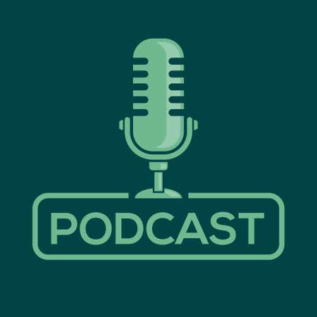 Podcast.  badge, icon with retro microphone. Vector illustration. Иллюстрация