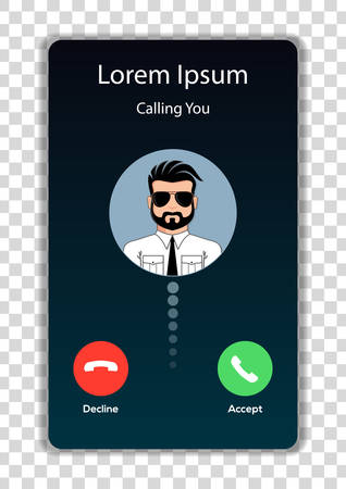 Screen of smartphone with incoming call. Vector illustration.