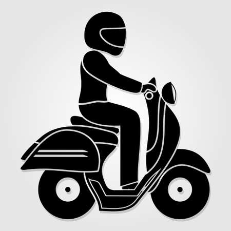 Man riding fast retro scooter icon isolated on white background. Vector illustration.