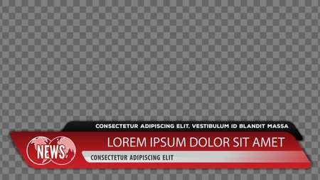 Barras de noticias de televisión para el título del título del video o la plantilla del tercio inferior. Ilustración vectorial.