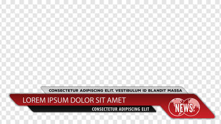 Tv news bars for Video headline title or lower third template. Vector illustration. Vettoriali