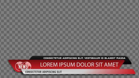 Barras de noticias de televisión para el título del título del video o la plantilla del tercio inferior. Ilustración vectorial. Ilustración de vector