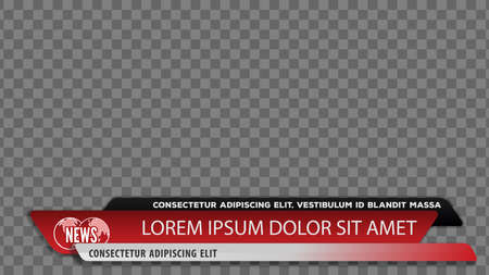 Tv news bars for Video headline title or lower third template. Vector illustration.