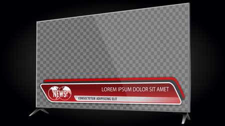 TV écran plat LCD réaliste, plasma avec barres d'informations pour le titre du titre vidéo ou le tiers inférieur. Isolé sur fond transparent. Modèle de maquette. Vecteurs
