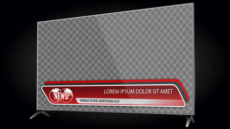 TV realistic flat screen lcd, plasma with news bars for Video headline title or lower third. Isolated on transparent background. Mock Up Template. Vector Illustratie