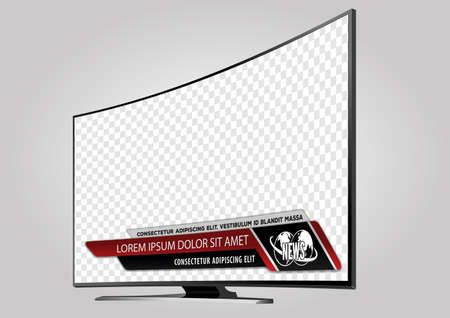 Curved TV screen lcd, plasma with news bars for Video headline title or lower third. Isolated on transparent background. Mock Up Template. Illustration