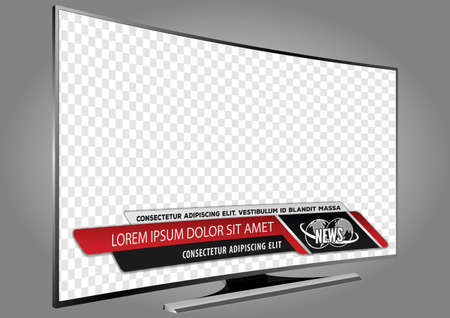 Curved TV screen lcd, plasma with news bars for Video headline title or lower third. Isolated on transparent background. Mock Up Template.