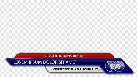 Barres d'actualités télévisées pour le titre du titre de la vidéo ou le troisième modèle inférieur. Illustration vectorielle.