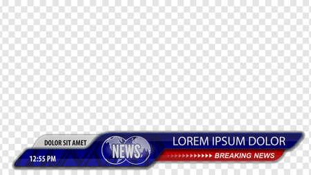 Título del título del video o tercio inferior para el encabezado de la noticia. Noticias de última hora. Plantilla de vector para su diseño.