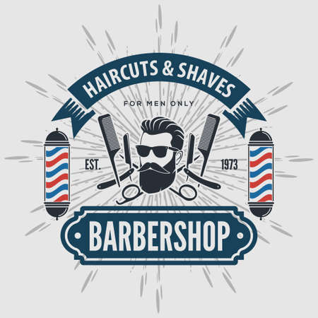 Barbershop poster, banner, label, badge, or emblem on gray background with barber pole in vintage style. Vector illustration.