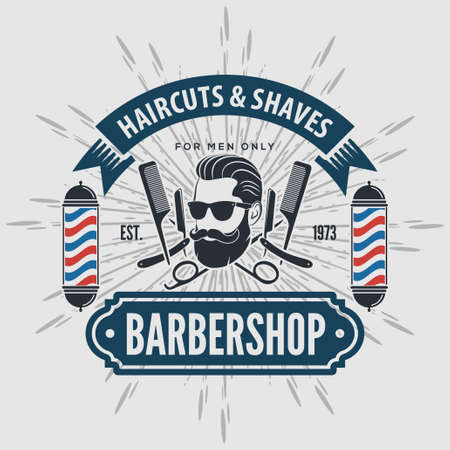 Barber shop vintage label, badge, or emblem on gray background. Vector illustration.