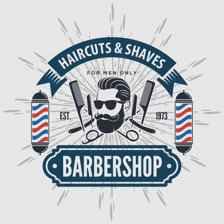 Barber shop vintage label, badge, or emblem on gray background. Vector illustration.