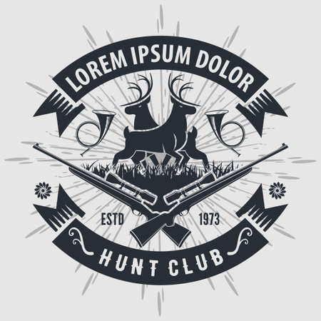 Vintage style hunt club with hunting rifles. Vector illustration