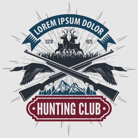 Vintage style hunt club with hunting rifles. Vector illustration.