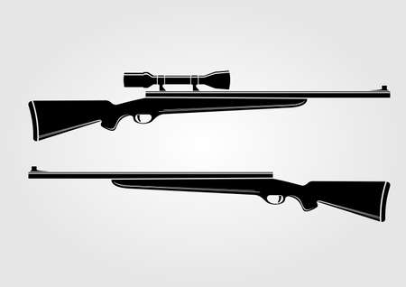 Two rifles isolated on white background. Vector illustration. 向量圖像