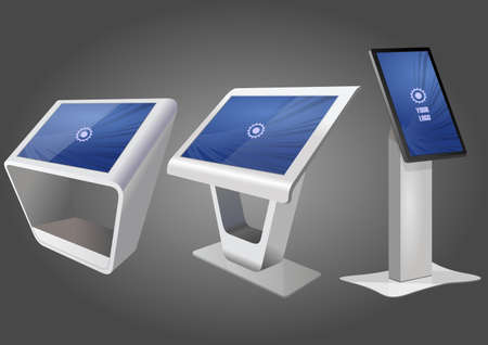 Three Promotional Interactive Information Kiosk, Advertising Display, Terminal Stand, Touch Screen Display. Mock Up Template. Vektorové ilustrace