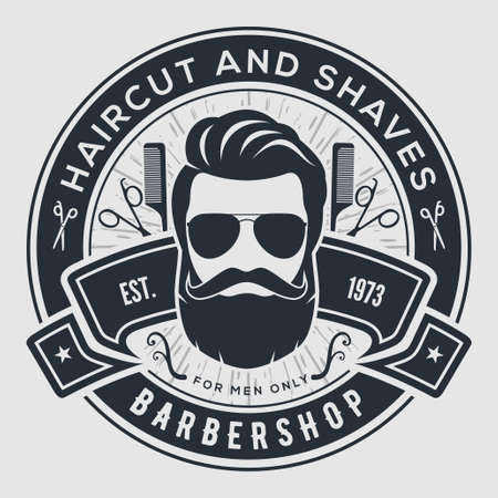 Barber Shop Vintage Label, Abzeichen oder Emblem auf grauem Hintergrund. Vektor-Illustration