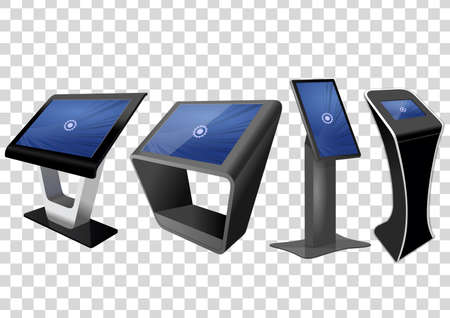 Four Promotional Interactive Information Kiosk, Advertising Display, Terminal Stand, Touch Screen Display isolated on transparent background. Mock Up Template. Ilustração Vetorial