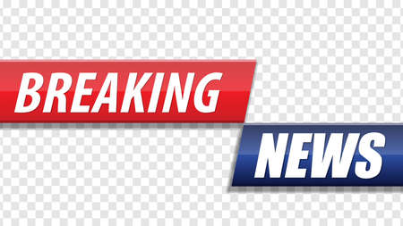 Breaking news. Red blue banner with white text isolated on transparent background. Vector illustration. Stok Fotoğraf - 114765531