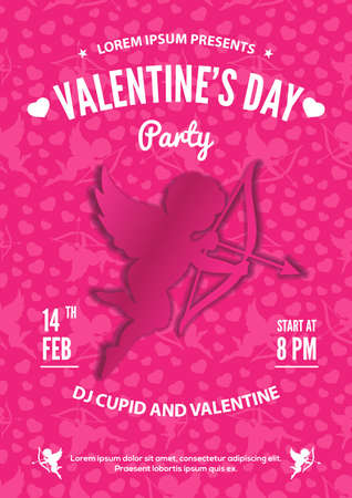 Valentines Day party invitation, flyer or poster design. Vector illustration.