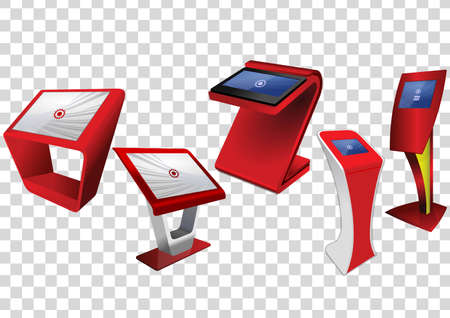 Five Red Promotional Interactive Information Kiosk, Advertising Display, Terminal Stand, Touch Screen Display isolated on transparent background. Mock Up Template. Vectores