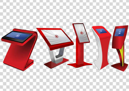 Five Red Promotional Interactive Information Kiosk, Advertising Display, Terminal Stand, Touch Screen Display isolated on transparent background. Mock Up Template. Illustration
