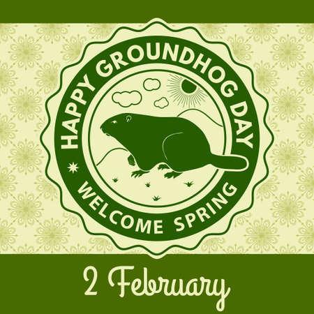 Happy groundhog day greeting card, label or poster. Vector illustration. Illustration