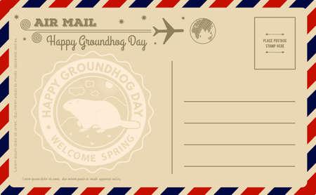 Carte postale vintage de jour de marmotte. Illustration vectorielle Vecteurs