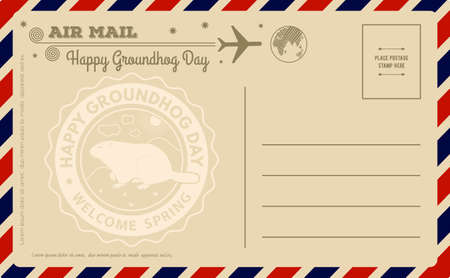 Vintage Groundhog Day Postcard. Vector illustration