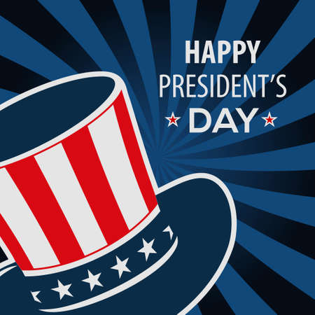 Happy President's day poster design with hat. Vector Illustration.