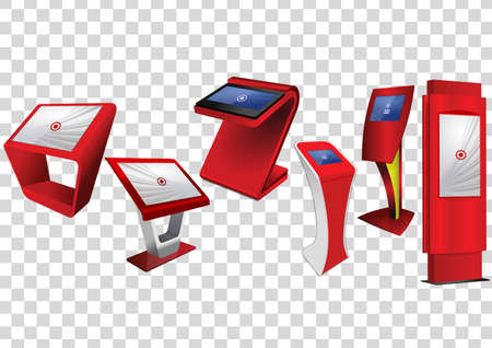 Six Red Promotional Interactive Information Kiosk, Advertising Display, Terminal Stand, Touch Screen Display isolated on transparent background. Mock Up Template.