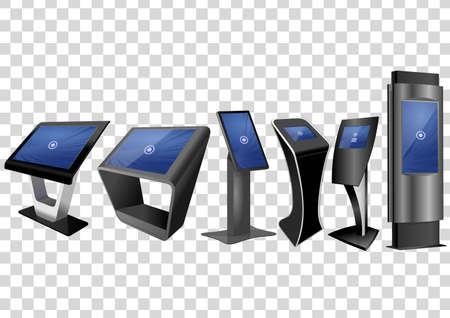 Six kiosque d'informations interactives promotionnelles, affichage publicitaire, support de terminal, écran tactile isolé sur fond transparent. Modèle de maquette.