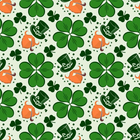St. Patrick's Day seamless pattern with leprechaun, hat and clover. Vector illustration. 向量圖像