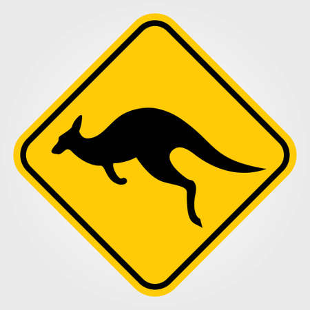 Kangaroo warning sign. Vector illustration.