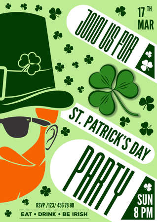Saint Patrick party poster design, 17 March celebration invitation. Vector illustration.