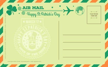 Vintage Saint Patricks Day Postcard. Vector illustration. Çizim