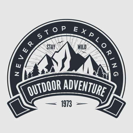 Outdoor Adventure vintage label, badge,  emblem. Vector illustration. Çizim