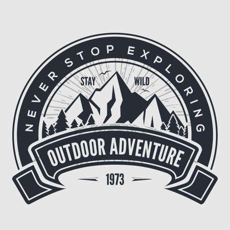 Outdoor Adventure vintage label, badge,  emblem. Vector illustration. Illustration