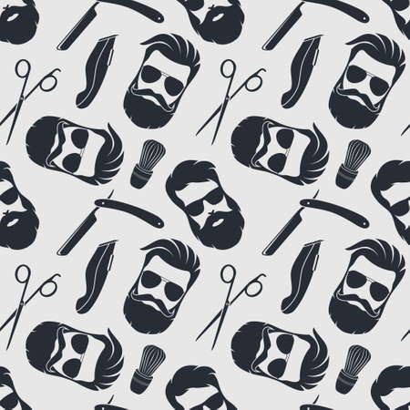 Barbershop background, seamless pattern with hairdressing scissors, razor and hipster face. Vector illustration.