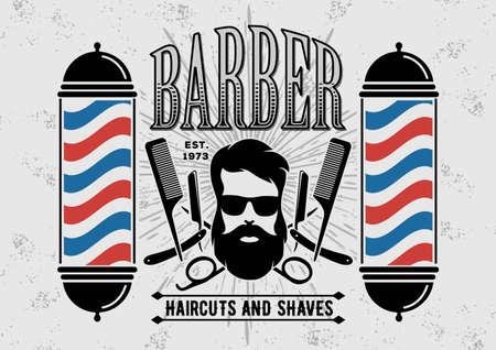 Barbershop mit Barber Pole im Vintage-Stil. Vektor-Vorlage.