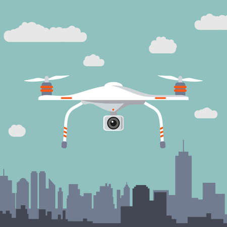 Drone with photo camera. Flat design. Vector illustration.