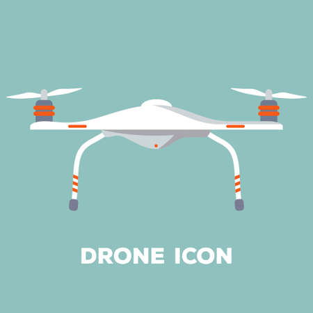 Quadcopter aerial drone. Flat design. Vector illustration.