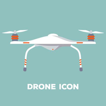 Quadcopter aerial drone. Flat design. Vector illustration.