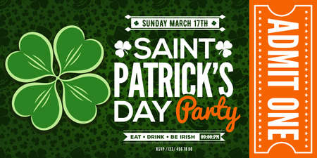 Saint Patrick's Day party celebration invitation, ticket, admit one. Vector illustration.