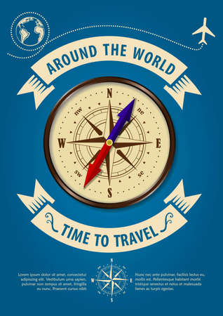 Time to travel banner or poster with compass. Concept for travel and vacations. Vector illustration. Illustration