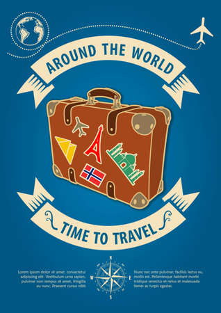 Time to travel banner or poster with retro suitcase. Concept for travel and vacations. Vector illustration. Vectores